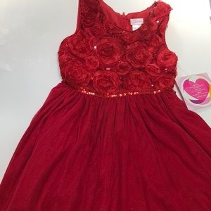 Youngland little girls red party dress, size 6X